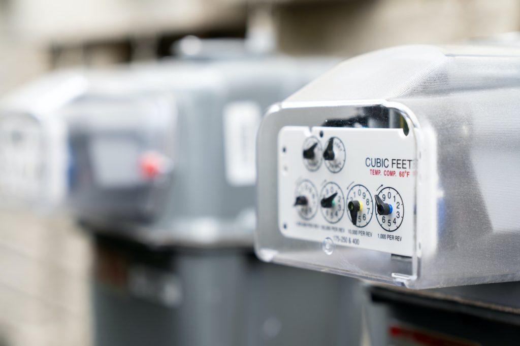 Natural gas meters at an apartment